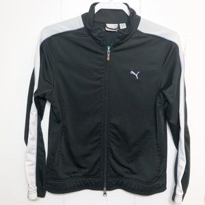 Puma Black White Full Zip Athletic Jacket